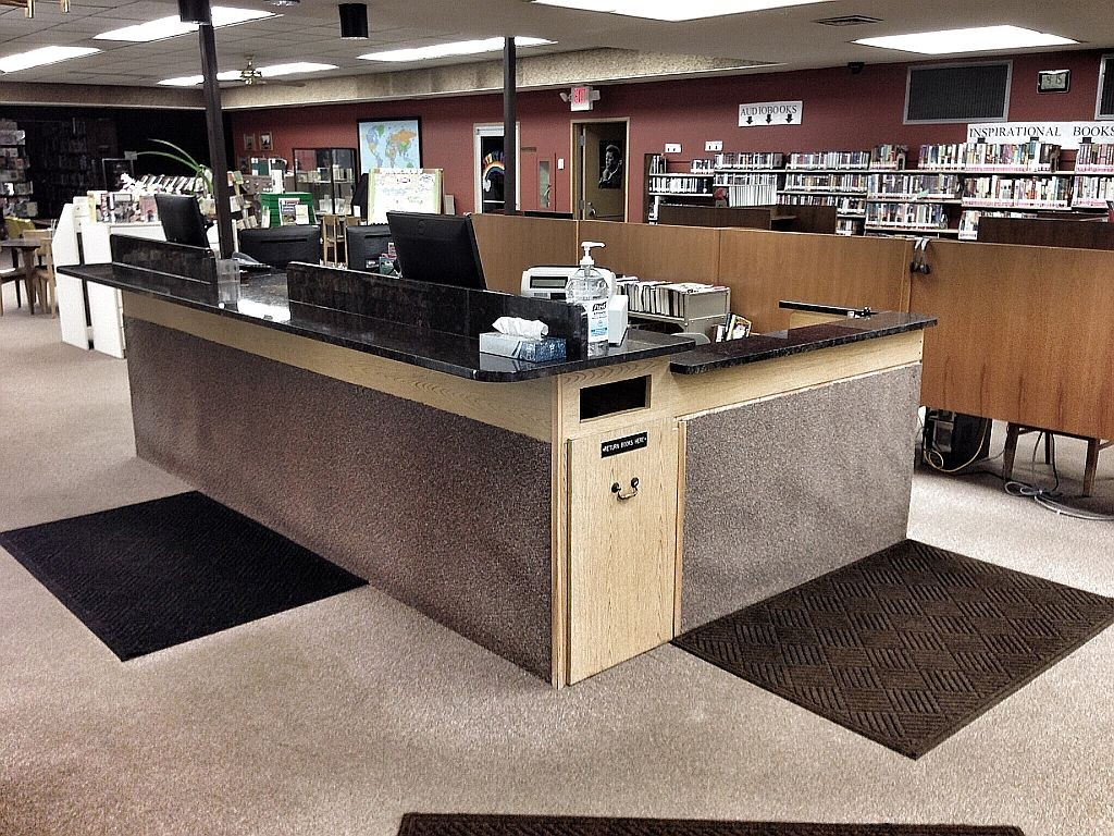 new granite counter top on the circulation desk