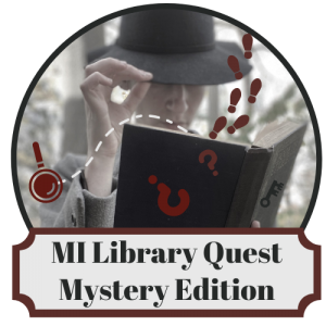 MiLibraryQuest logo with mysterious figure holding an open book with footprints and question marks falling
